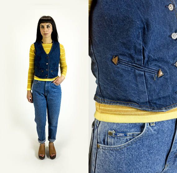 Vintage 1970s Levi\'s Dark Denim Wash and Leather Button Up Jean Vest ...
