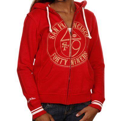 Mitchell & Ness San Francisco 49ers Ladies Scarlet Bar Vintage Full Zip Hoodie Sweatshirt