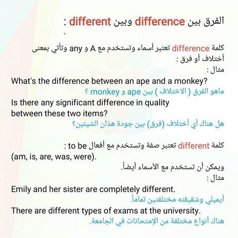 Different And Difference الفرق بين English Language Learning Learn English Vocabulary English Language Learning Grammar
