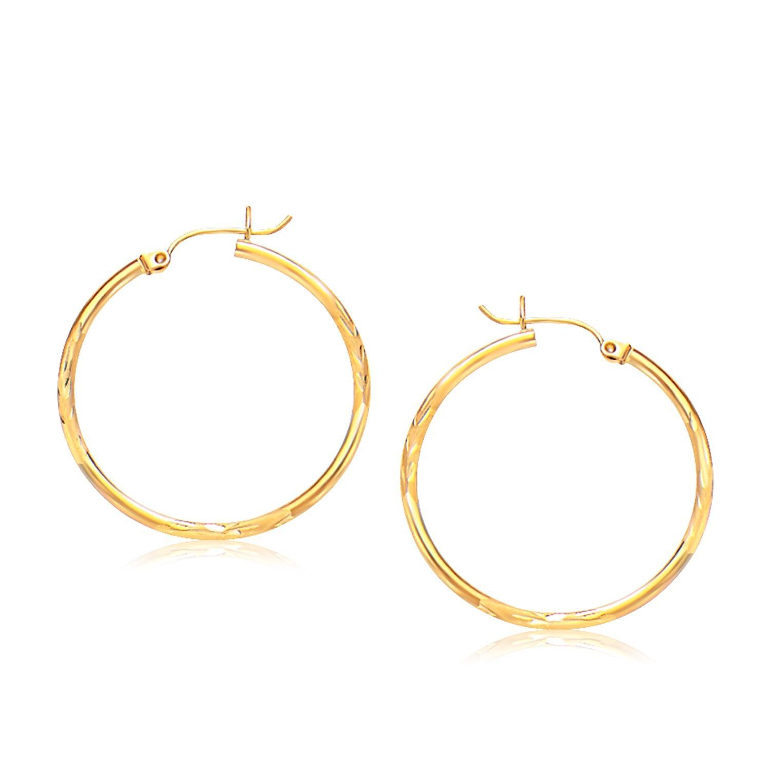 Diamond Cut Round Hoop Earring with Hinged Clasp 10K Tricolor Satin