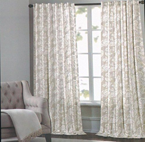Cynthia Rowley Window Curtain Panels 52 Inches By 96 Inches Set Of 2 White Floral Pattern On Beige Tan Cynthia Rowley New Panel Curtains Curtains Window Panels