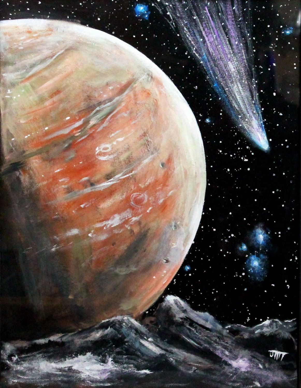 FRAMED Alien Planet Original, Painting on 12\