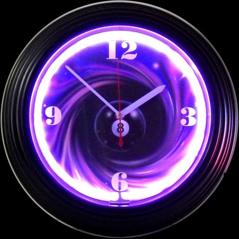Purple Neon Clock Clock Wall Clock
