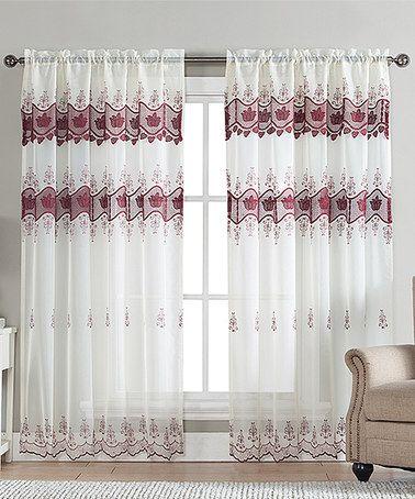 Beige Burgundy Elsa Rod Pocket Sheer Macrame Curtain Panel Zulily Zulilyfinds