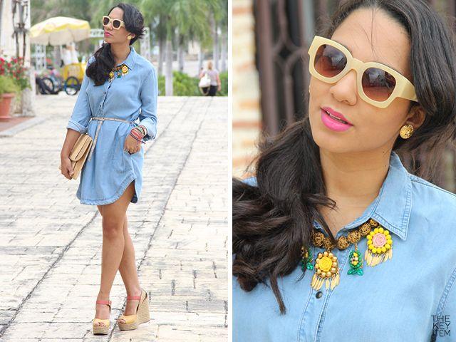 Demin shirt dress and @Elaine de Koning Design necklace