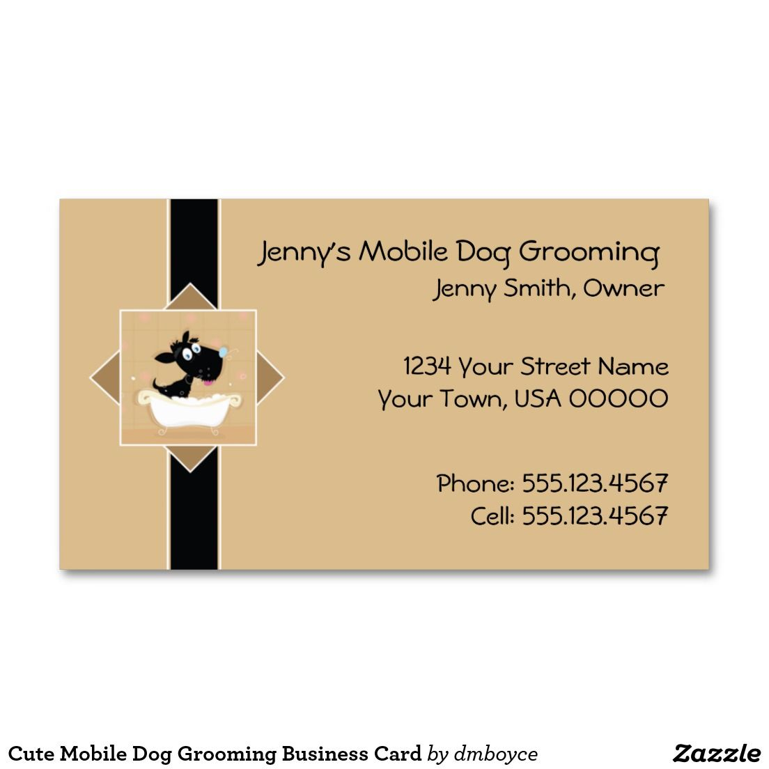 Cute Dog in Bathtub Pet Dog Groomer | Business Card | Business cards ...