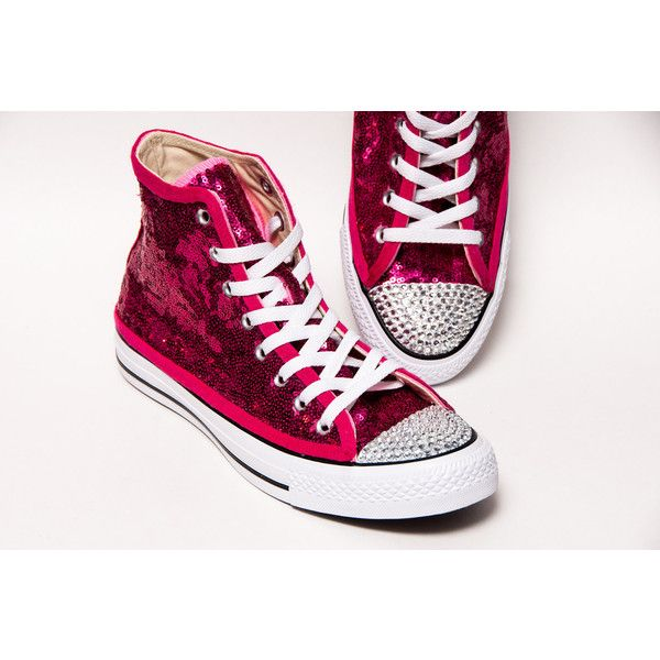 b3ace21717be Tiny Sequin Starlight Hot Fuchsia Pink Converse Canvas Hi Top Sneakers...  ($150) ❤ liked on Polyvore featuring shoes, sneakers, grey, hi tops,  sneakers ...