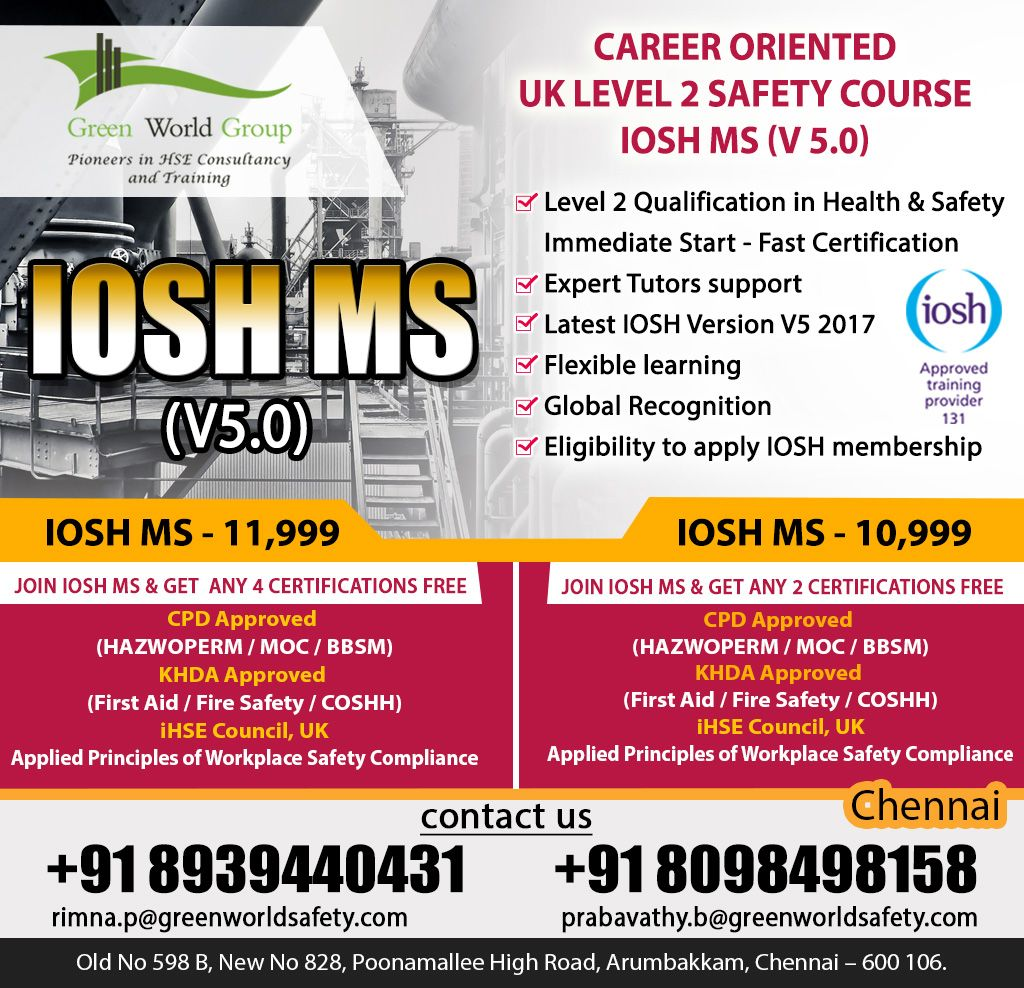 Iosh managing safely certifications opted for students