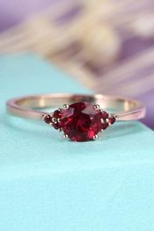 Photo of For Sale: Ruby Engagement Ring Rose Gold Unique Cluster … – Ruby Jewelry …