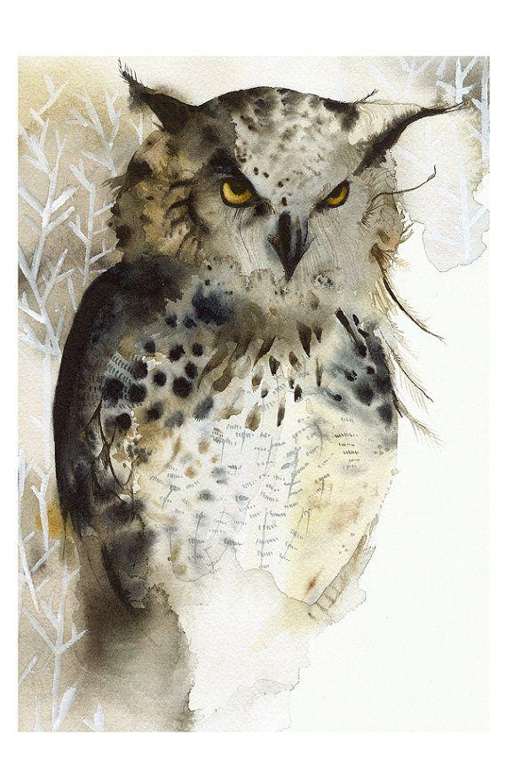 Owl painting, owl watercolor print, owl art print, Great Horned Owl ...