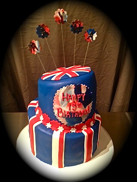 Sweet Ts Cake Design British Flag Topsy Turvy 2 Tier Birthday Cake