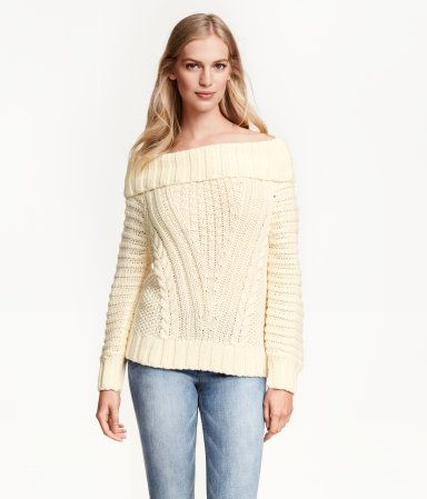 Soft, pattern-knit off-the-shoulder sweater with wool content. Rib ...