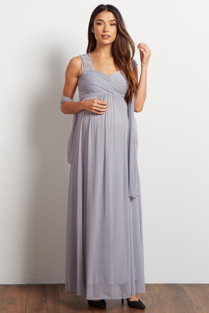 73650b341b1 A gorgeous chiffon maternity evening gown for your special events and  occasions. Elegant lace sleeves and back detail with a pleated top and  cinched bust ...