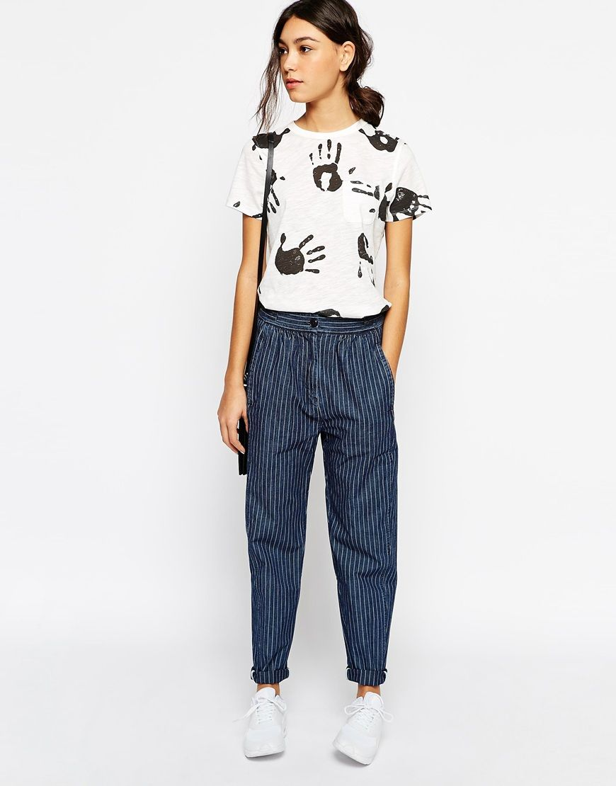 Image 1 ofYMC Pinstipe Relaxed Trousers