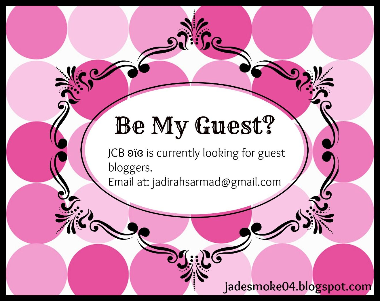 Note that you can only cover beauty, fashion, books, music, food, DIYs-&-Crafts or blog tips in your guest post on JCB ʚϊɞ. http://jadesmoke04.blogspot.com/
