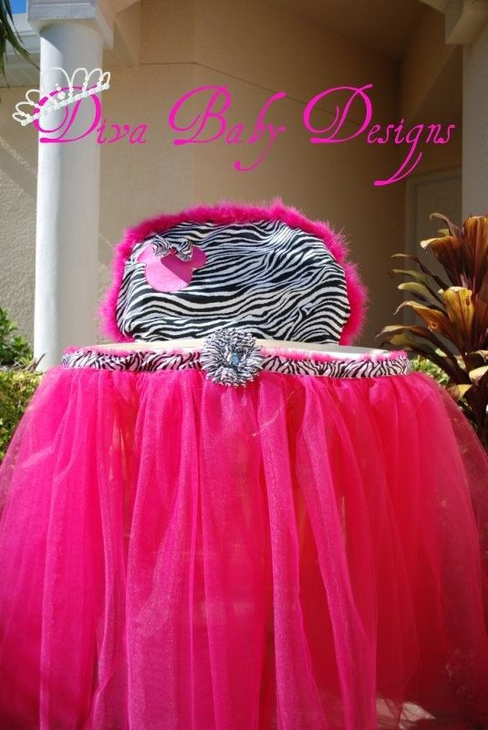 zebra high chair best computer minnie mouse cover tray tutu print and hot pink