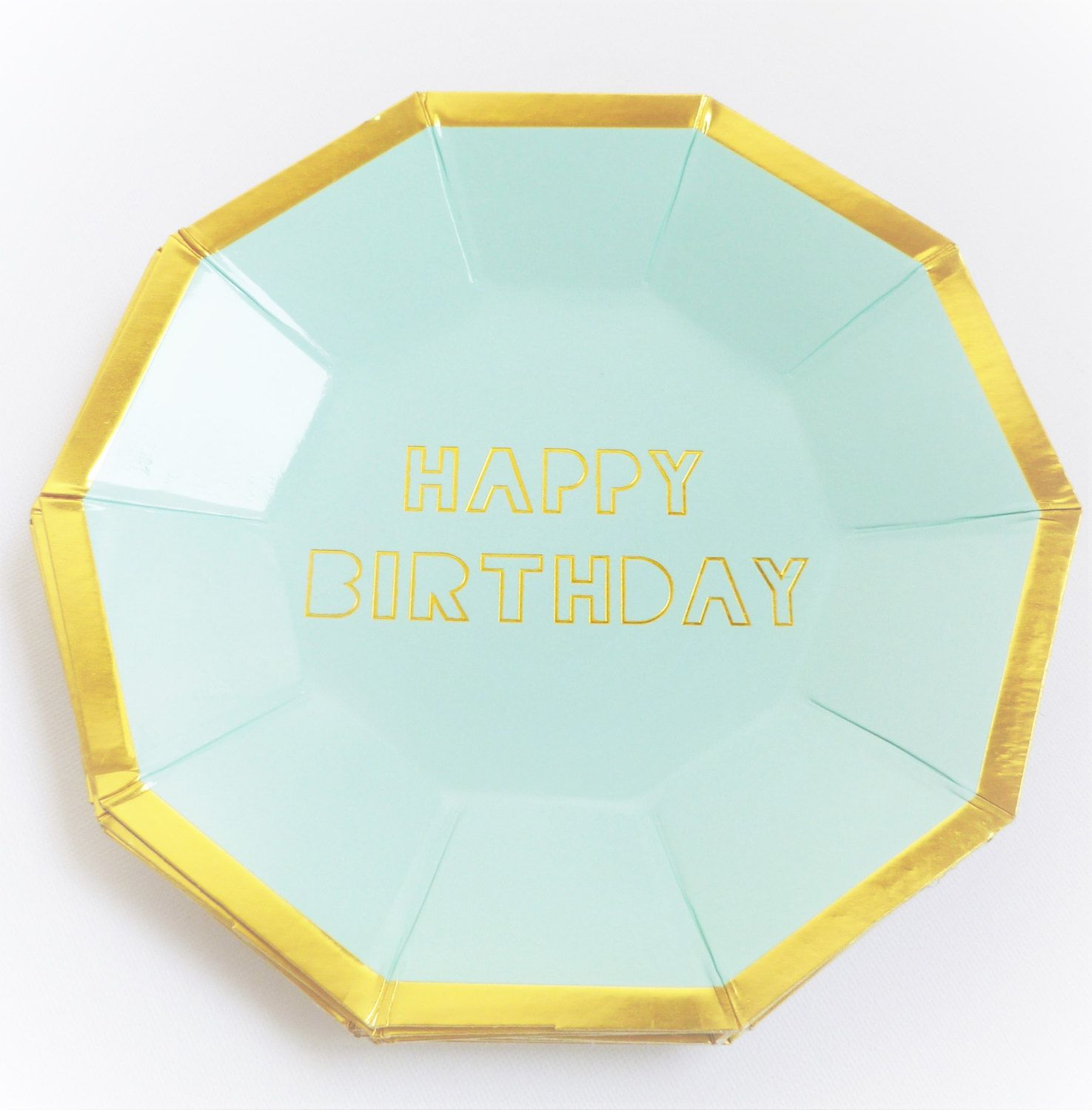 8 x Mint and Gold foil Happy Birthday Paper Plates - Afternoon Tea childrens - Hexagon Birthday party first birthday boy girl metallic  sc 1 st  Pinterest & 8 x Mint and Gold foil Happy Birthday Paper Plates - Afternoon Tea ...
