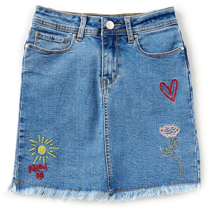 e1ecda35b8 Maddie Big Girls 7-16 Embroidered Denim Skirt