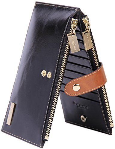 50 Off Price 28 99 Borgasets Rfid Blocking Women S Genuine Leather Zipper Wallet Card Case Purse