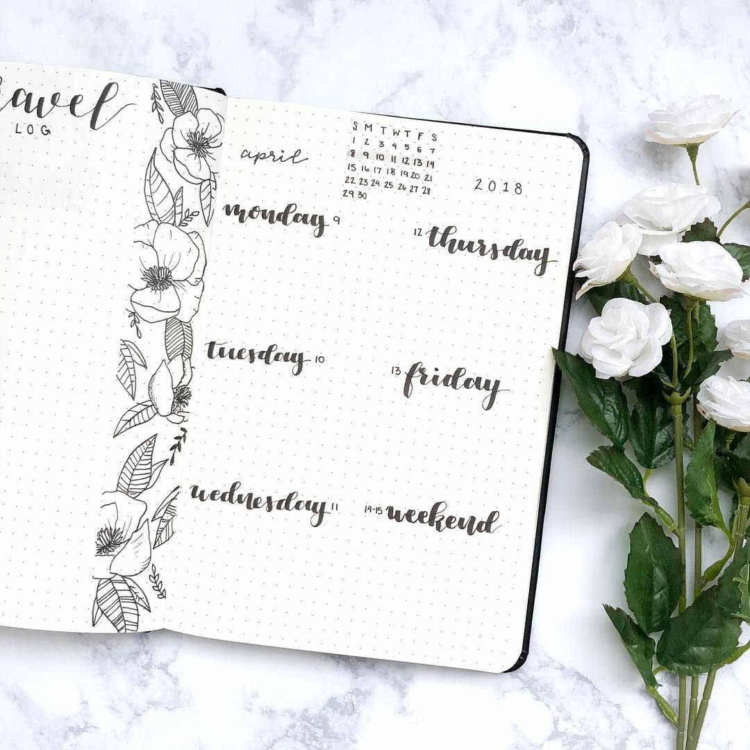 Bullet journal weekly layout, hand lettering, flower drawing