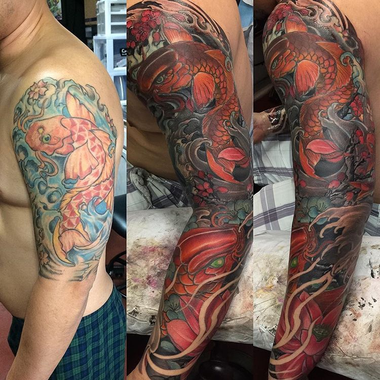 Amazing Koi Cover Up Tattoo Fix Up , Cover Up #tattoo