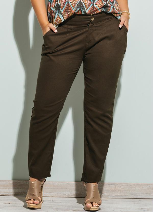 67fa576d5 Calça Social Plus Size Marrom - Quintess | Moda feminina | Calça ...
