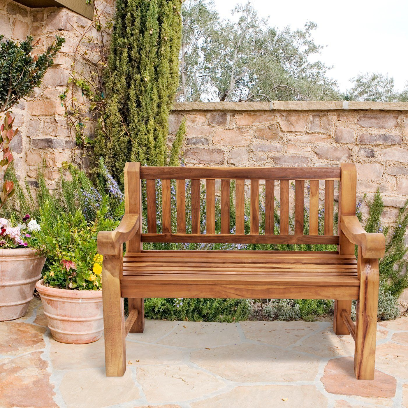 Superior quality Garden Bench for two in Chunky Solid Teak: Amazon ...
