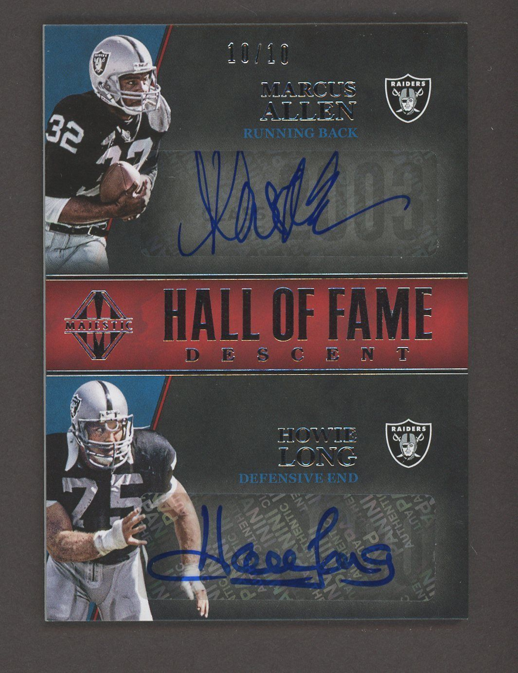 2018 Panini Majestic Hof Descent Marcus Allen Howie Long Raiders