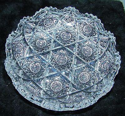 Antique-Huyler-American-Brilliant-Cut-ABP-Glass-Bowl-Dish-Clark-Hunter-Pattern