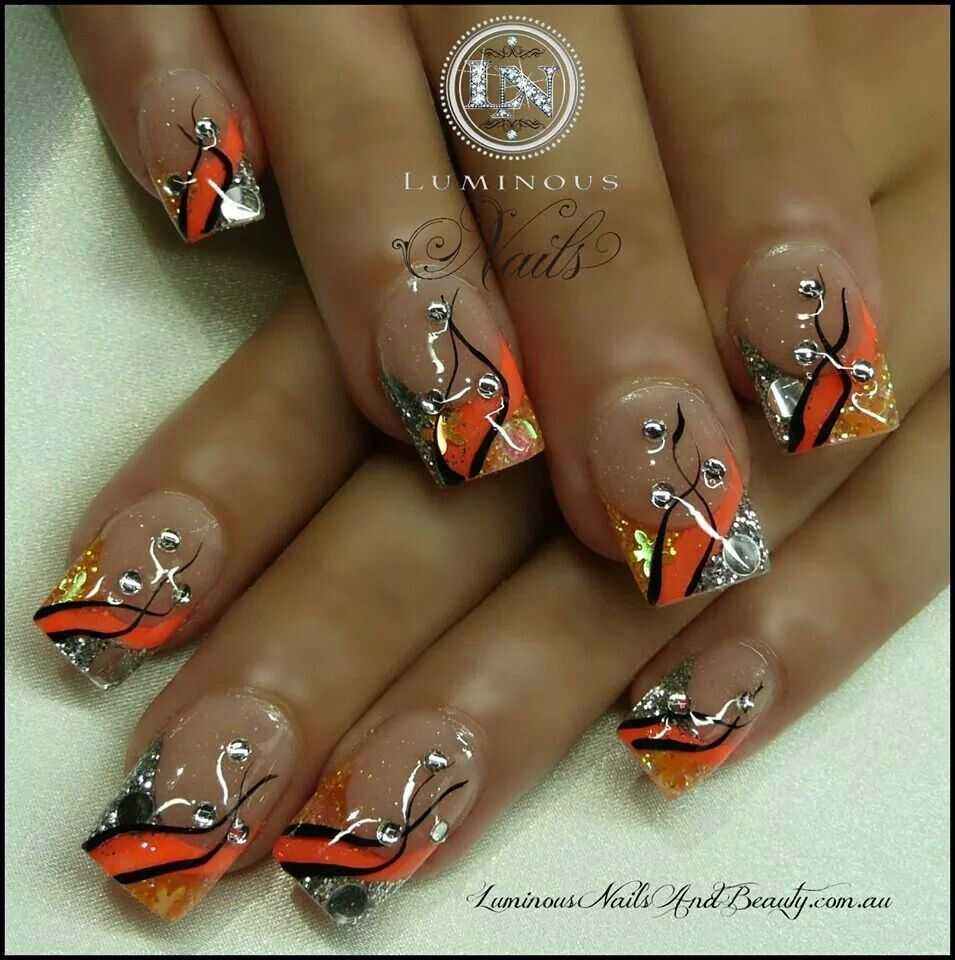 VERY NICE nail art design idea, love the colors too! | fall nail art ...