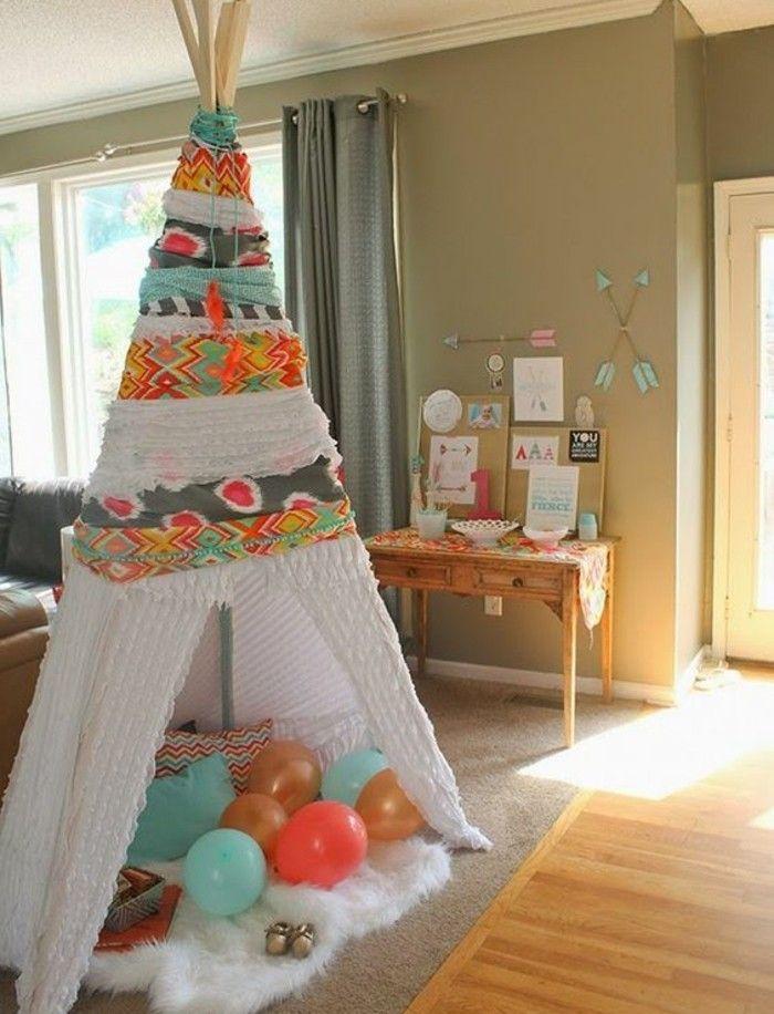 comment fabriquer un tipi 60 id es pour une tente indienne sympa tapis blanc cadeau. Black Bedroom Furniture Sets. Home Design Ideas