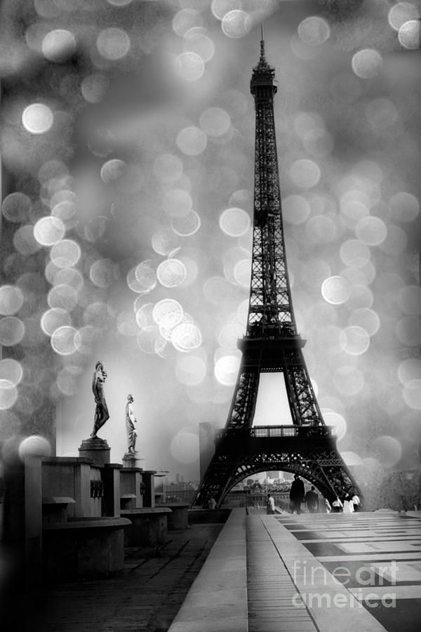 Paris eiffel tower surreal black and white photography eiffel tower bokeh surreal fantasy night by kathy fornal