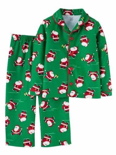 e78b5fb6c Carter s Infant   Toddler Boys Green Flannel Santa Claus Christmas ...