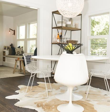 bertoia side chairs, moooi-random light, modern dining room, white
