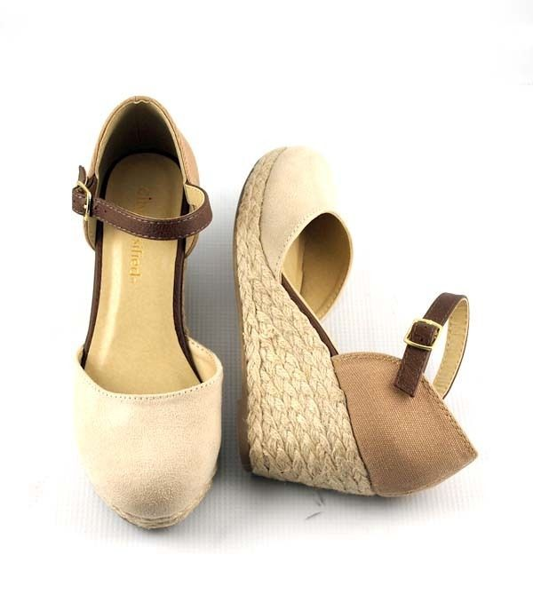d2366cbfcac Details about Nude Tan Cutie Closed Toe Low Wedge Espadrilles Ankle ...
