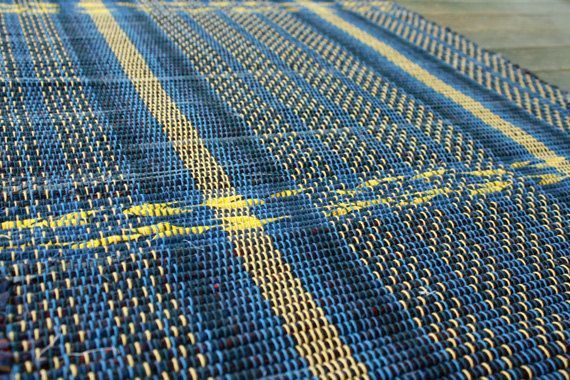24 x 38 handwoven rug in navy with yellow. by TwoCedarsWeaving, $40.00