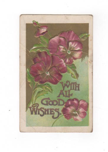 With All Good Wishes. Purple Pansy antique postcard. embossed, gold accents. Very good vintage condition collectible ephemera. by PickleladyPapers on Etsy