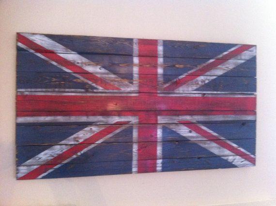 Union Jack Vintage Distressed Style Wood Wall Art Art