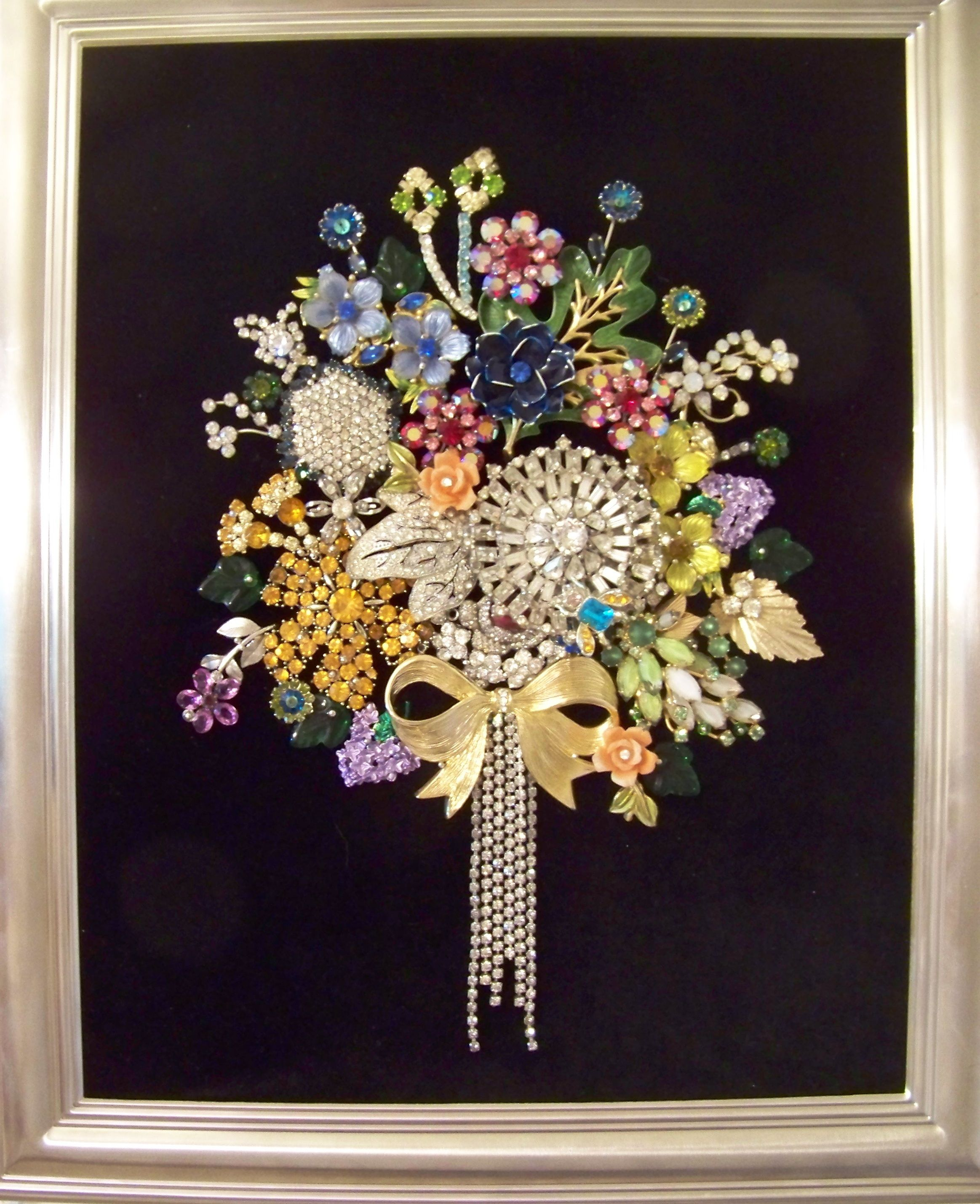Rhinestone jewels for crafts - My Bouquet Of Rhinestones Created With Vintage Brooches Earrings Rhinestone And Placed In A