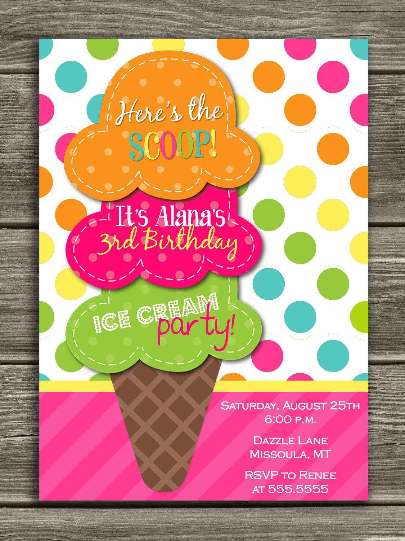 Ice Cream Birthday Invitation Ice Cream Party Birthday