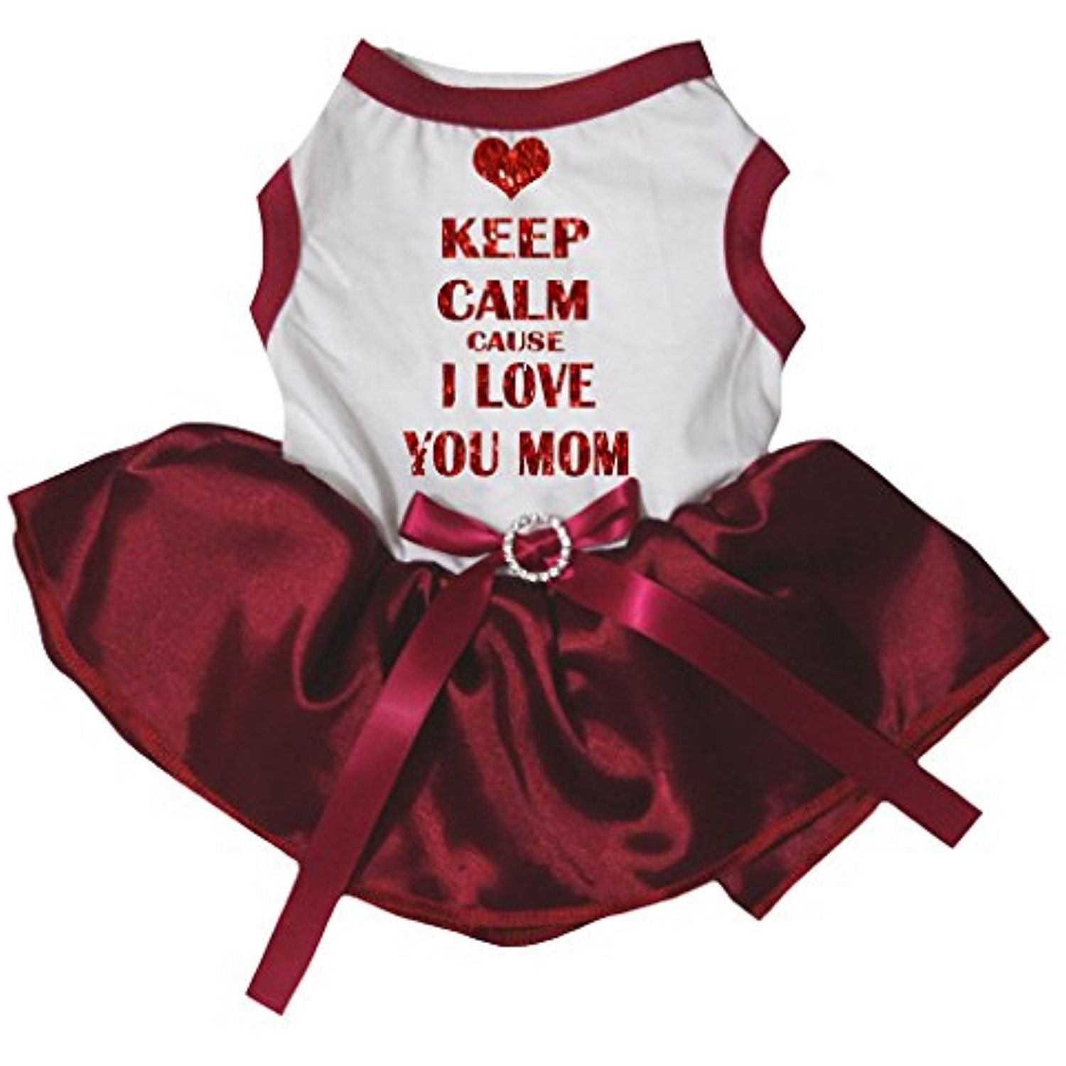 Petitebella Puppy Clothes Dog Dress Cause I Love You Mom White Top Red Tutu  (Medium) -- Click image for more details. (This is an affiliate link)   ... 49cec86b76d7