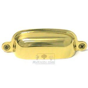 RK International - Polished Brass - Flat Box Cup Pull in Polished Brass