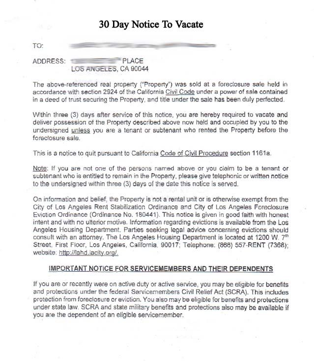 Printable Sample 30 Day Notice To Vacate Template Form Real - how to write a letter of eviction