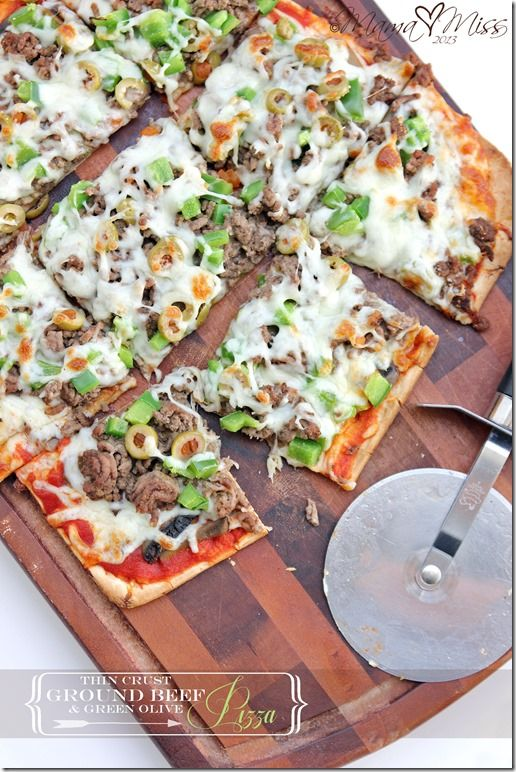 Thin Crust Ground Beef And Green Olive Pizza Olive Pizza Thin Crust Ground Beef