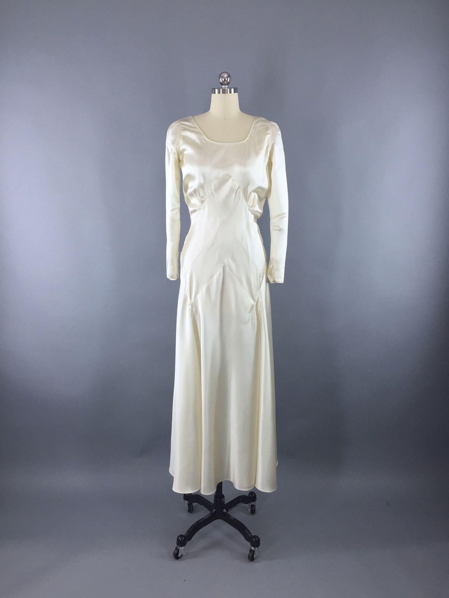 1930s wedding dress  Vintage s  s Art Deco Satin Bridal Dress with Slip Bra and