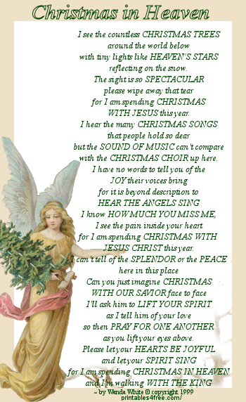 This is a graphic of Dashing Christmas in Heaven Poem Printable