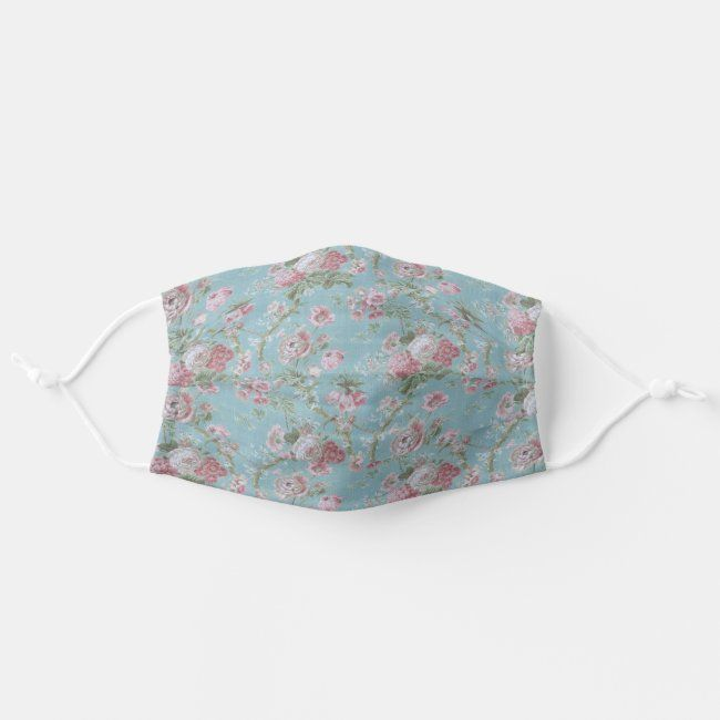Shabby Elegant Pink and White Floral on Blue Adult