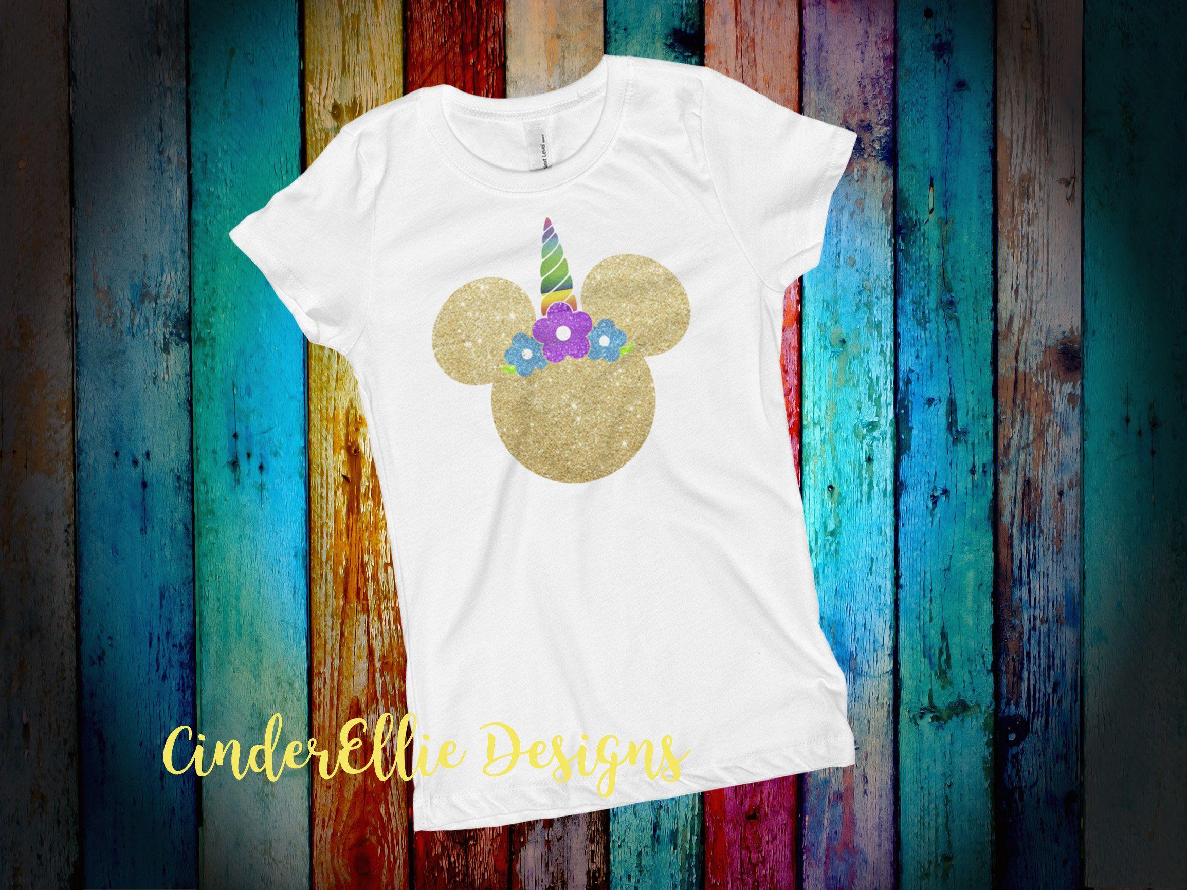 642124373 Unicorn Minnie Mouse T-shirt; Glitter Unicorn Shirt; Girls' Disney World  Shirt