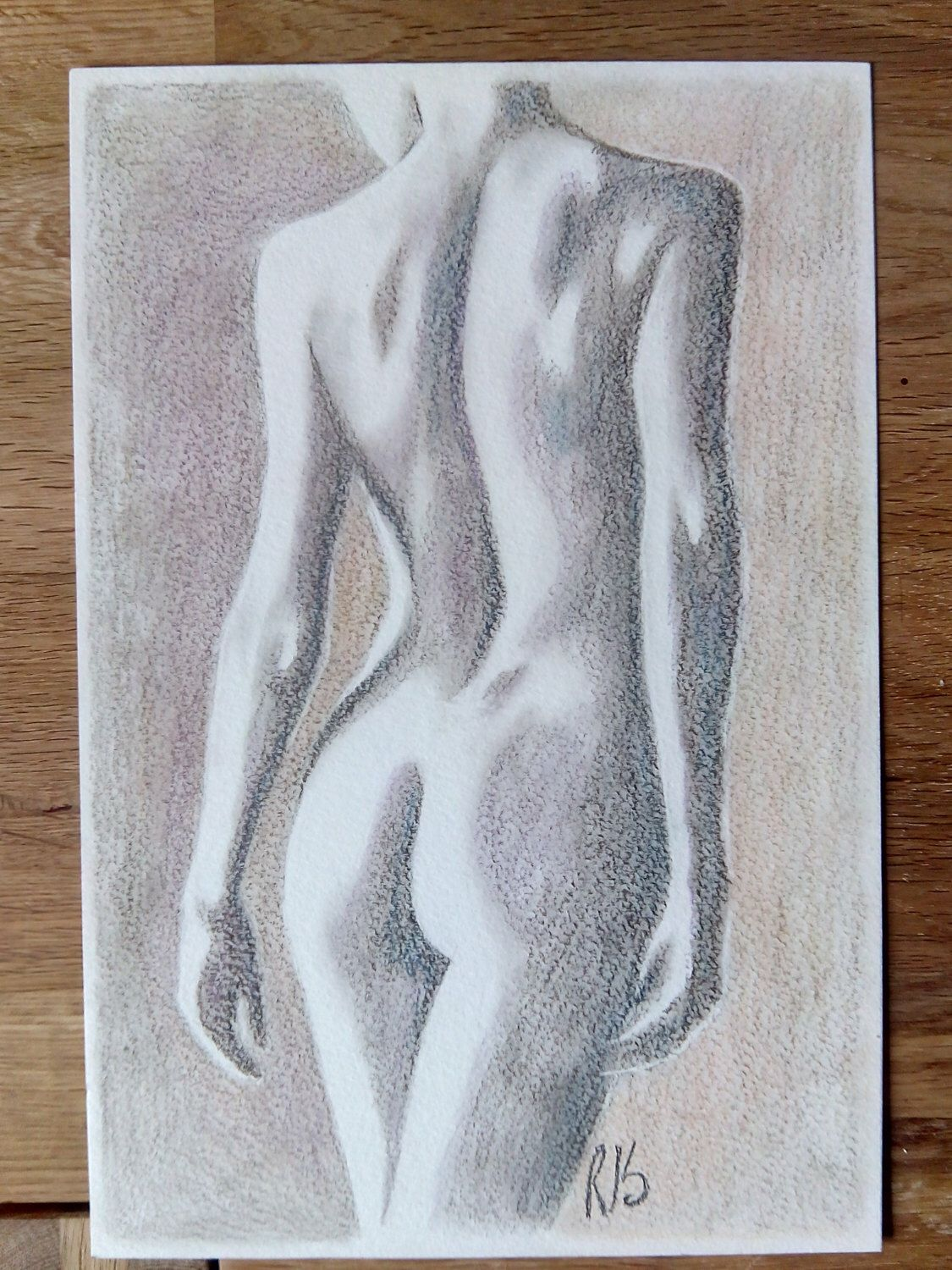 Original pastel pencil drawing nude woman nude study nude figure naked woman