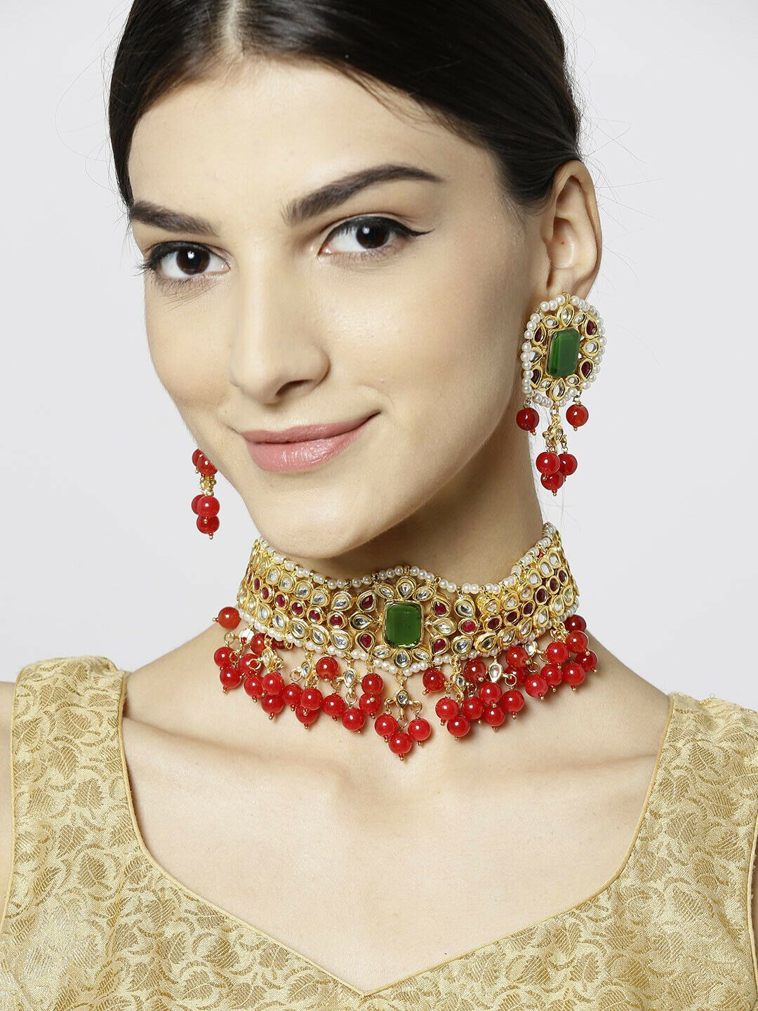 indian bollywood necklace jewelry Gold Plated Kundan Pearl Necklace Set with Earrings for Women